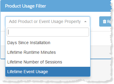 Event usage filters for In-App Messaging