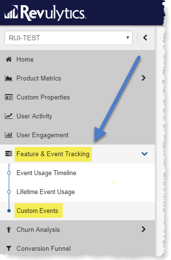 Revulytics Custom Event Tracking Menu