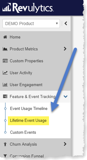 Revulytics Lifetime Event Usage Menu