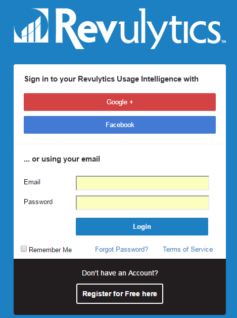 Revulytics Usage Intelligence Login