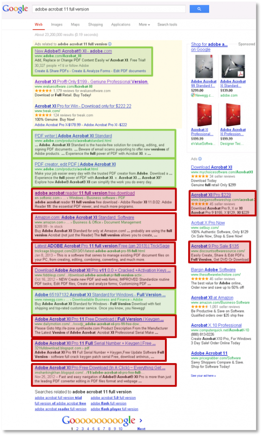 Adobe Acrobat Google Results